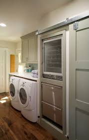 undercounter ice machine laundry room traditional with barn door