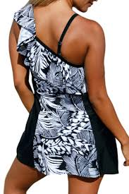 fashion leaves printed color block one shoulder mini swimwear