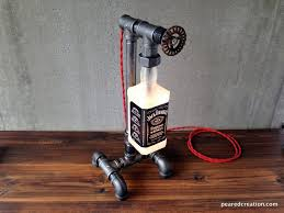 bourbon bottle lamp industrial lamp man cave pipe bottle