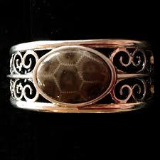cuff bracelet with stone images Oval petoskey stone wide cuff bracelet jpg