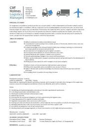 logistics manager cv template example job description supply
