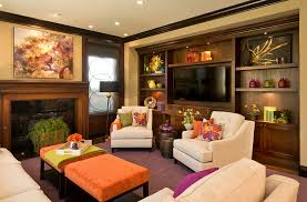 Family Room Decor Attractive Living Room Decor With Colorful Upholstered Tables Also
