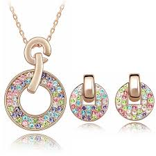 swarovski crystal necklace sets images Jewelry for girls necklace earrings sets austrian crystal wedding jpg