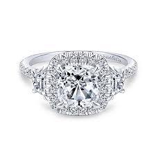 engagement rings cushion cut platinum cushion cut 3 stones halo engagement ring er9189pt4jj