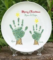 birth plate keepsake christmas tree handprint plate 302b plt and footprint
