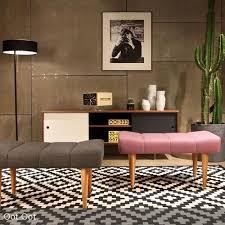 sitzbank wohnzimmer gepolsterter sitzhocker im skandinavischem design einfache