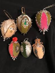 Style Tree Ornaments Vtg Lot 6 Beaded Sequined Pearled Style