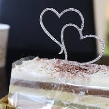 heart cake topper 2017 new rhinestone silver heart cake