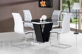 black table white chairs ga vico blg white black gloss gloss designer 120 cm dining set 4