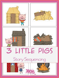 3 pigs story sequence printables sequencing cards