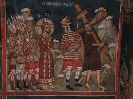 simon of cyrene carrying the cross for jesus 14th century wall