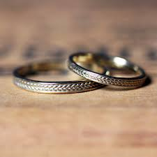 14k gold wedding ring sets gold braided ring wedding band set gold wheat ring recycled