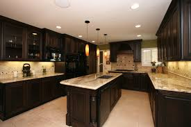 hickory wood light grey windham door kitchen with dark cabinets