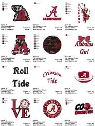 alabama crimson tide football embroidery designs instant download