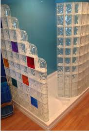adding color with shower wall panels and glass blocks shower