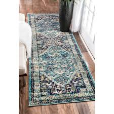 Aqua Runner Rug Nuloom Traditional Flower Medallion Aqua Runner Rug 2 6 X 8
