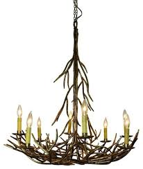 Large Rustic Chandelier Large Gold 8 Light Iron Twig Chandelier Tree Branch Lodge Ranch