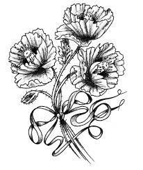 tattoo flower drawings i absolutely loveeee the ribbon around the stems of the poppy this