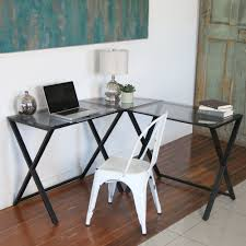 Glass L Shaped Desk L Shaped Glass Top Computer Desk