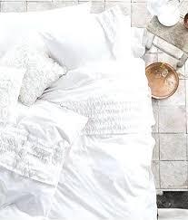 White Ruffled Comforter Satin Floral Chrysanthemum Print Duvet Cover Frilled Duvet Covers