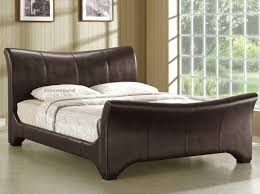 King Size Leather Sleigh Bed Fantastic King Size Sleigh Bed With Curve Sleigh Bed Brown