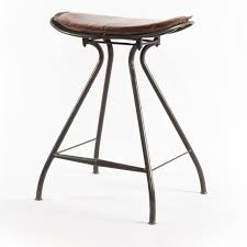 Backless Counter Stools Ryder Saddle Tan Leather Iron Counter Stool Zin Home