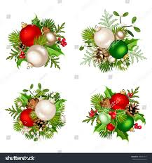 set four vector christmas decorations red stock vector 538451413