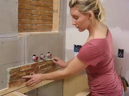 how to install stacked slate tiling in a bathroom how tos diy