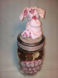 handmade polymer clay pink rabbit money jar home and living home