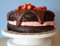 chocolate cake with strawberry cheesecake mousse filling i sing