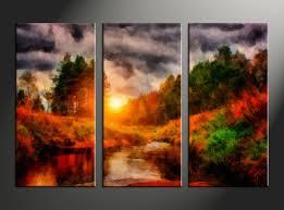 Home Decor Canvas Art by 3 Piece Canvas Blue Sunrise Ocean Oil Paintings Pictures