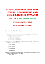 mcqs for entrance test for bn mn msn nursing by rs mehta