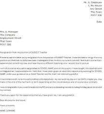 resignation letter sample resignation letter for a teacher