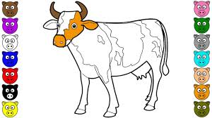 cow coloring pages for kids learn colors for kids youtube