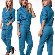 Jeans Jumpsuit For Womens Discount Woman Long Sleeve Denim Jumpsuit 2017 Woman Long Sleeve