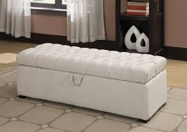 Rectangular Storage Ottoman Storage Organization Cool White Tufted Leather Rectangular