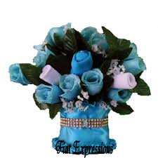 Tiffany Blue Flowers Tiffany Blue Baby Bouquet Baby Shower Floral Centerpiece U0026 Gift