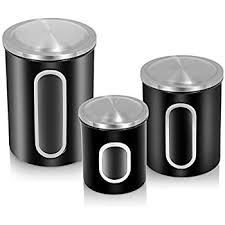 black kitchen canister set fortune food storage canister set of 3 black