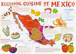 Mexico On Map by Large Map Of Regional Cuisine Of Mexico Mexico Regional Cuisine