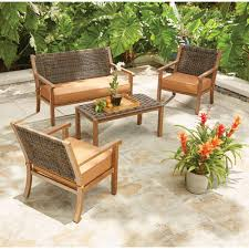 Patio Chairs With Cushions Leisure Made Draper 4 Piece Wicker Patio Conversation Set With Tan