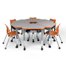 modular desks with wheels that can be put in groups chairs with