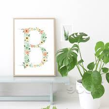 Monogram Letters Home Decor Aliexpress Com Buy Floral Monogram Nursery Letter