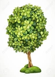 tree on the hill with moss detailed vector illustration
