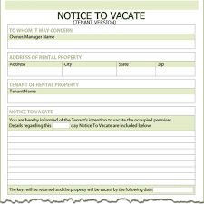 30 Day Notice Lease Termination by Florida Tenant Notice To Vacate