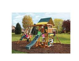 Backyard Playground Slides by Wooden Swing Set Kids Playground Slide Outdoor Backyard Fort