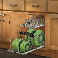 pull out cookware organizer helps with kitchen cabinet