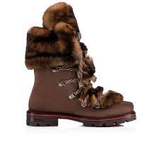 christian louboutin snow black flat suede boots in testa di moro