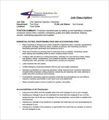 Cnc Operator Job Description For Resume by Machine Operator Job Description Templates 11 Free Sample