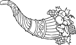 cornucopia clipart black and white pencil and in color