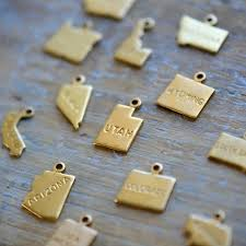 50 State Map State Map Charms Raw Brass Map United States 50 State Shape Gold